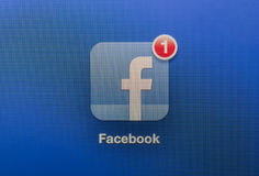 You have a new facebook message. Super macro shot of a new facebook message has just arrived Stock Images