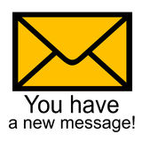 You have a new message!. New text message illustration brown Royalty Free Stock Photos