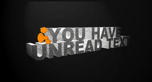 You have unread text. About the messaging. A person have unread text in his/her mobile and he/she is not interested in reading that. The orange character is vector illustration