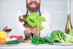 That is for you. Healthy food cooking. Bearded man cook in kitchen, culinary. Chef man in hat. Secret taste recipe stock image