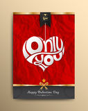 Only you heart lettering on paper be crumpled background. Stock Photos