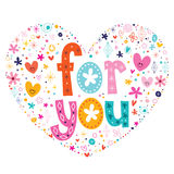 For you heart shaped typography lettering vector design Royalty Free Stock Photo