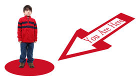 You Are Here. Six year old boy not happy to be here Royalty Free Stock Photo