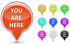 You are here button stock illustration