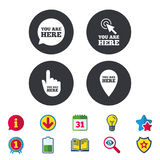 You are here icons. Info speech bubble sign. You are here icons. Info speech bubble symbol. Map pointer with your location sign. Hand cursor. Calendar Royalty Free Stock Images