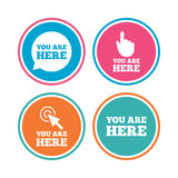 You are here icons. Info speech bubble sign. Royalty Free Stock Photography