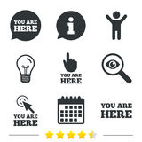 You are here icons. Info speech bubble sign. You are here icons. Info speech bubble symbol. Map pointer with your location sign. Hand cursor. Information, light Royalty Free Stock Images