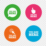 You are here icons. Info speech bubble sign. Stock Photography