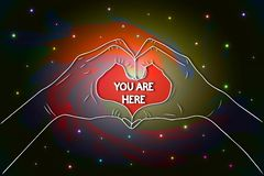 You are here illustration - female hands show heart stock illustration