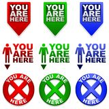 You are Here map markers Royalty Free Stock Image