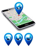 You are Here - Phone with Map Pointer Icon Cell Smart Mobile Stock Image