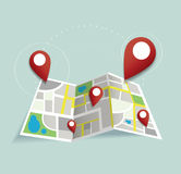 You are here, pin location icon and map vector, the concept of travel. EPS10 Stock Image