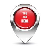 You are Here pin. You are here message on glossy map pin, against white background with shadow. EPS10 vector format Stock Images
