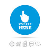You are here sign icon. Info speech bubble. Royalty Free Stock Image