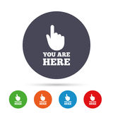 You are here sign icon. Info speech bubble. Royalty Free Stock Images