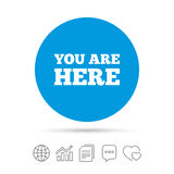 You are here sign icon. Info text symbol. Stock Photos