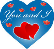 You and I blue heart stock photos