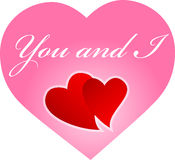 You and I hearts royalty free stock photography
