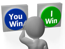 You I Win Buttons Show Opposition Or Gaming Royalty Free Stock Photography