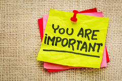 You are important reminder note. Self assurance or positive confirmation concept royalty free stock photos
