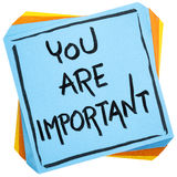 You are important reminder note. You are important reminder - self assurance or positive confirmation concept - handwriting on an isolated sticky note royalty free stock photography