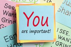 You Are Important. Text on reminder note. Business concept stock photography