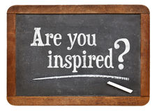 Are you inspired?. Are you inspired question on a vintage slate blackboard Stock Photography