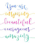 You are Inspiring Beautiful courageous amazing vector illustration
