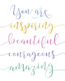 You are Inspiring Calligraphy Stock Image
