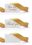 You are invited. Invitations and greeting cards over a white background, vhere i'ts written you are invited, and thank you. There is a golden ribbon around it Stock Image