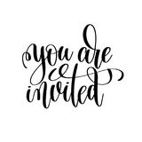 You are invited black and white handwritten lettering Royalty Free Stock Images