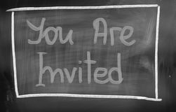 You Are Invited Concept. Concept Handwritten With Chalk On A Blackboard Royalty Free Stock Images