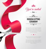 You are invited invitation card with curving ribbon. And copy space. Grand opening concept. Vector illustration Stock Images