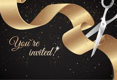 You are invited invitation card with curving ribbon and sparkling background. Stock Image