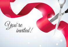 You are invited invitation card with curving ribbon and sparkling bokeh background. Royalty Free Stock Photo