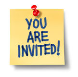 You are invited office note yellow paper Royalty Free Stock Image