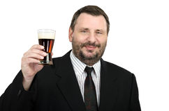 You are invited to beer festival - says man. You are invited to beer festival - says smiling bearded man in black suite Stock Photo