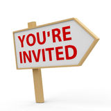 You are invited white banner Stock Photos