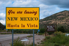 You are Leaving New Mexico Sign to Colorado Royalty Free Stock Photos