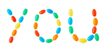 You lettering made of multicolored candies isolated on white Royalty Free Stock Photo