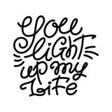 You light up my life, monoline love lettering Stock Images