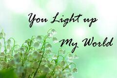 You light up my world text sign. Blooming Lilies of the valley green leaves. Blurred bokeh lights flowers background