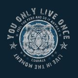 `you only live once` typography, tee shirt print stock illustration