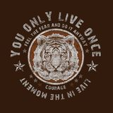 `you only live once` typography, tee shirt print vector illustration