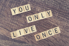 You Only Live Once (YOLO) message formed with wooden blocks. You Only Live Once (YOLO) message. Cross processed image for vintage look stock image