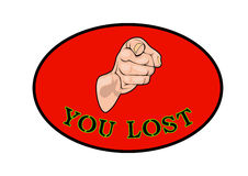 You are loser. Hand pointing to the loser Royalty Free Stock Photo