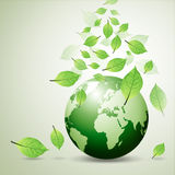 You love world and green leaf Stock Photo