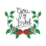 You are so Loved. Greeting card. royalty free illustration