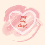 You are loved ,hand lettering Valentine's Day. Greeting card, vector illustration Royalty Free Stock Image