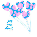 You are loved ,hand lettering Valentine's Day. Greeting card, vector illustration Stock Photos